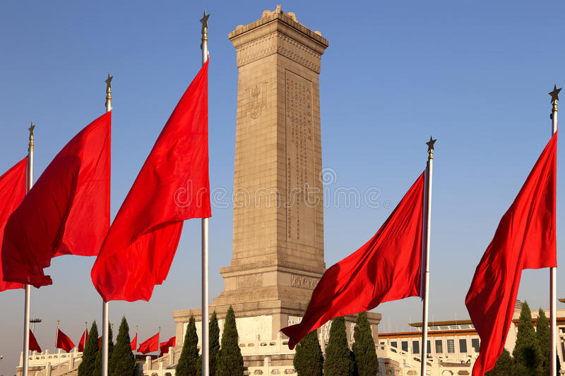 Monument aan de Helden van de Mensen bij het Tiananmen-Vierkant, Peking, China stock afbeelding
