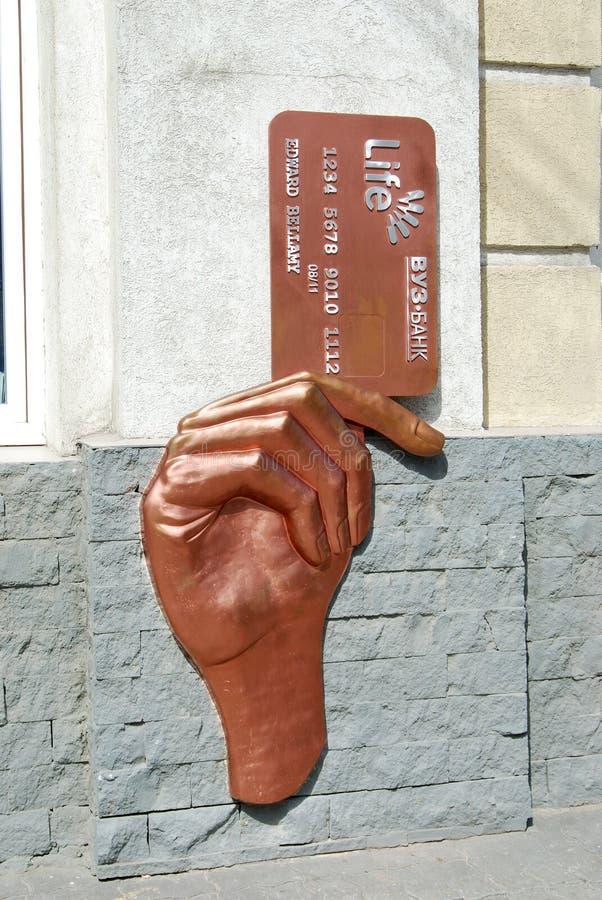 Monument aan de plastic creditcard. stock foto