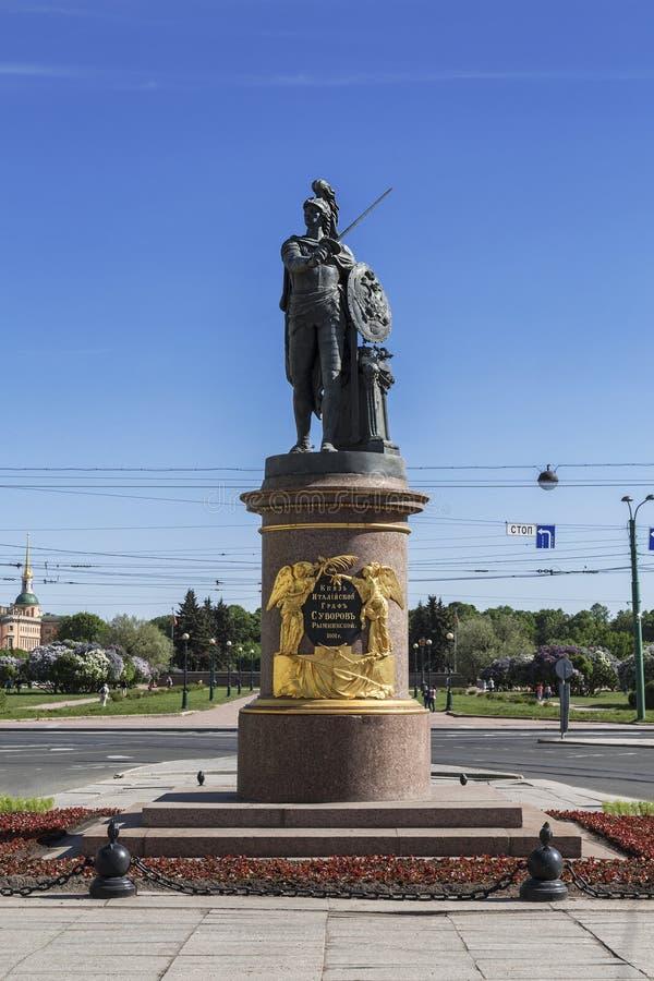 Monument aan de Russische bevelhebber Generalissimo Alexander Suvorov in St. Petersburg royalty-vrije stock foto's