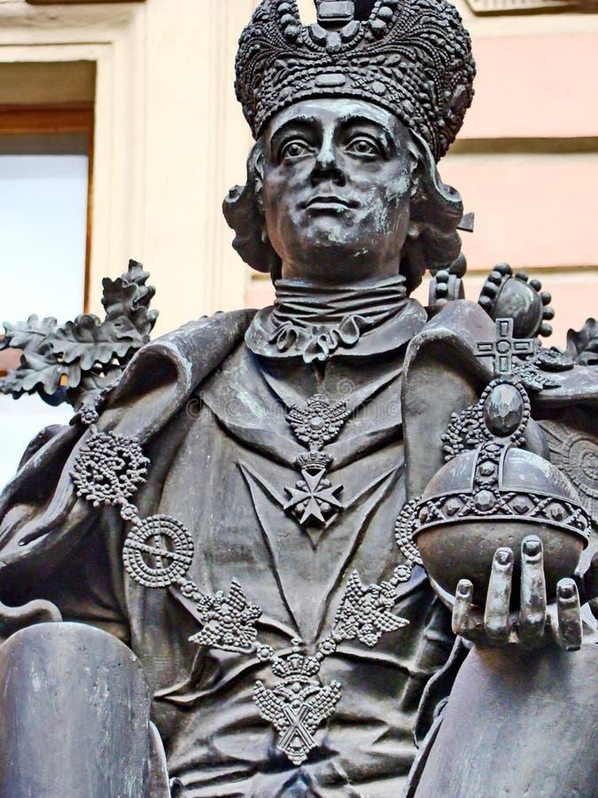 Monument aan de Russische Tsaar Pavel I in het Mihajlovsky-slot Door beeldhouwer VE Gorev, architect VP Nalivayko Geopend 27 Mei, royalty-vrije stock fotografie