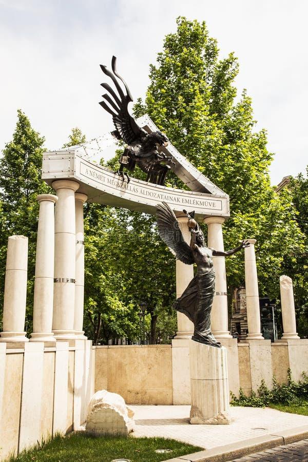 Monument aan de slachtoffers van het Duitse beroep in Boedapest, HU royalty-vrije stock afbeelding