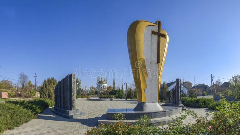 Monument aan de slachtoffers van Holodomor in Dobroslav, de Oekraïne stock foto's