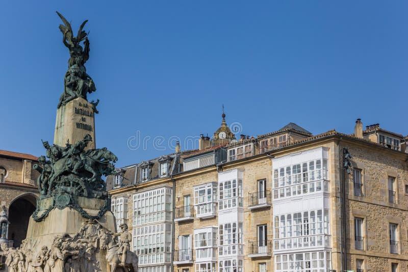 Monument aan de slag van Vitoria op het Virgen-vierkant royalty-vrije stock foto