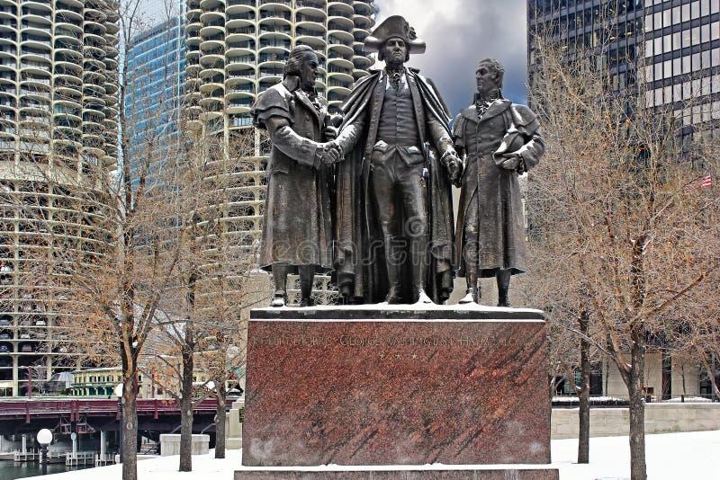 Monument aan drie ware patriotten van Amerika in Chicago, de V.S. stock fotografie