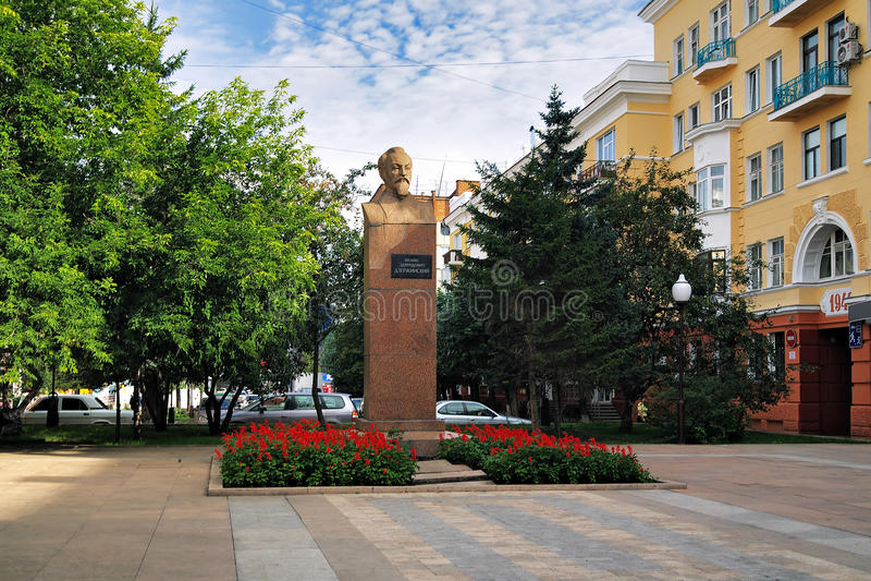 Monument aan Dzerzhinsky in Krasnoyarsk, Rusland stock fotografie