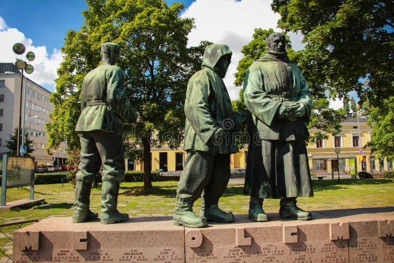 """Monument aan Finse militairen †de """"deelnemers van de 2de Wereldoorlog royalty-vrije stock fotografie"""