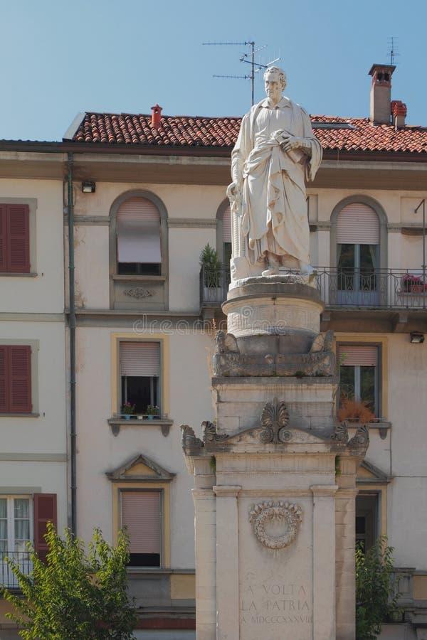 Monument aan fysicus-uitvinder Alessandro Volta Como, Italië royalty-vrije stock foto's