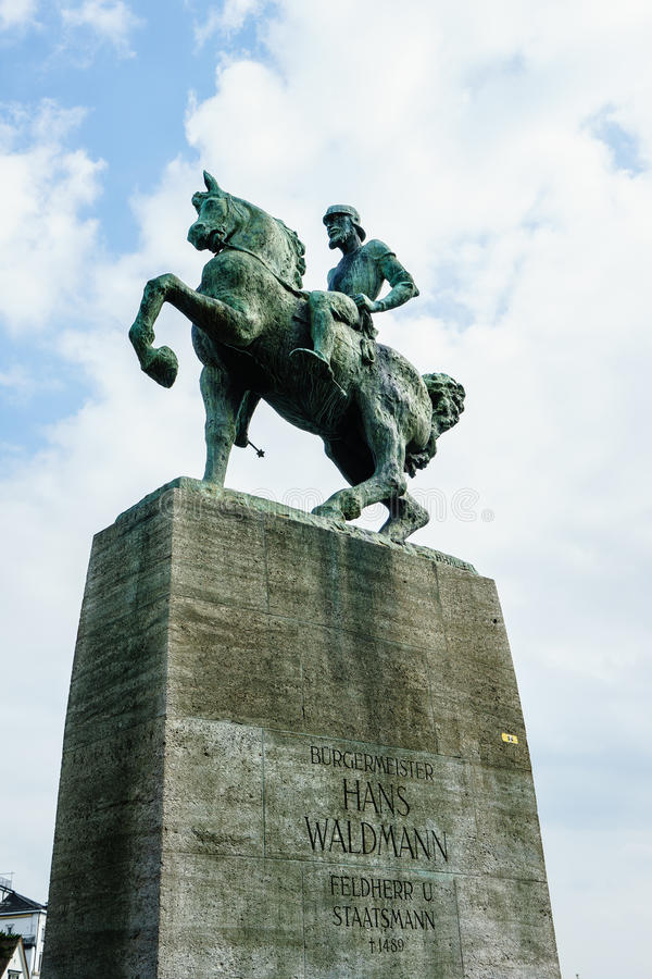 Monument aan Hans Waldmann in Zürich stock afbeeldingen