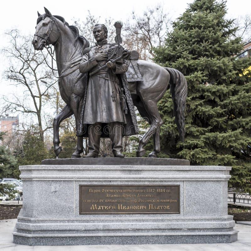 Monument aan Held van de Patriottische Oorlog van 1812-1814 M I Platov stock foto's