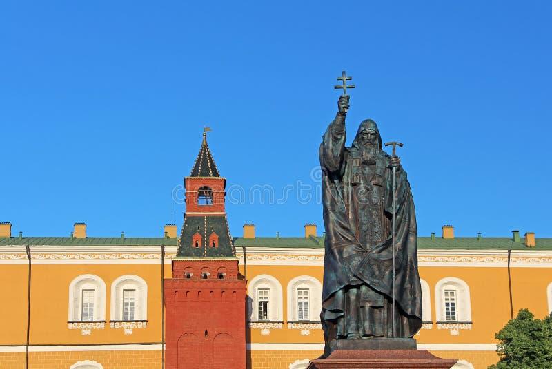 Monument aan Hermogenes in Moskou, Rusland stock foto's