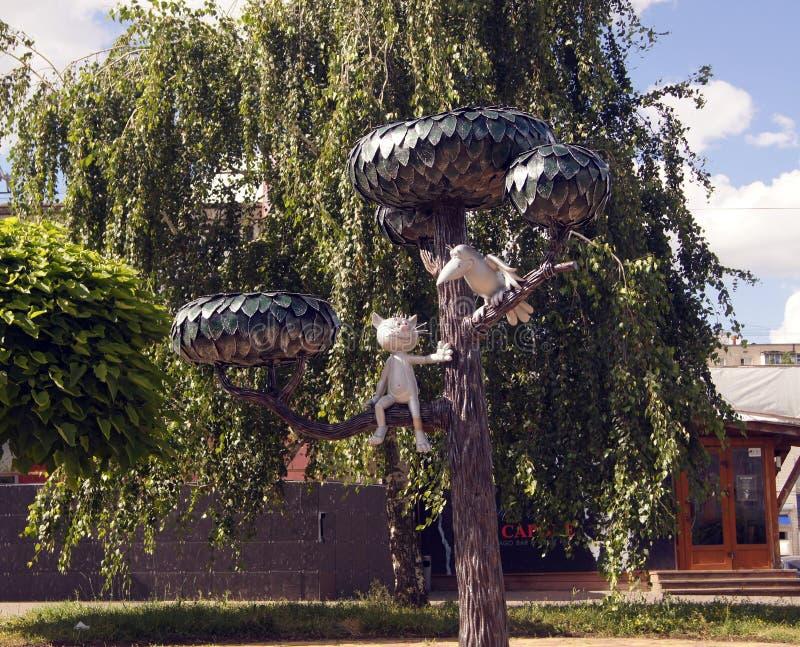 Monument aan het katje van de straat Lizyukova, Voronezh, Rusland royalty-vrije stock afbeeldingen