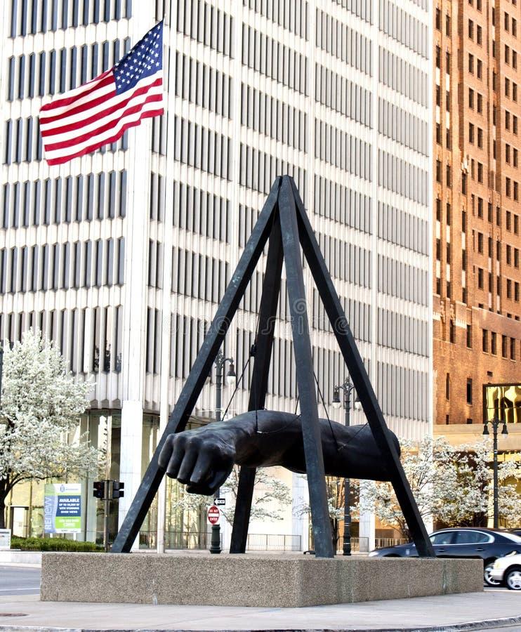 Monument aan Joe Louis Detroit stock afbeeldingen