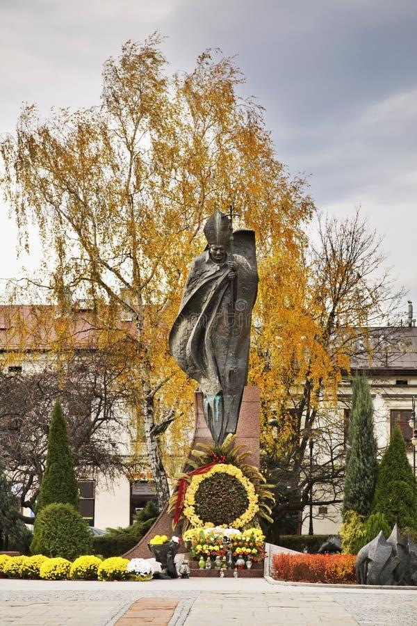 Monument aan Johannes Paulus II in Nowy Sacz polen stock foto's