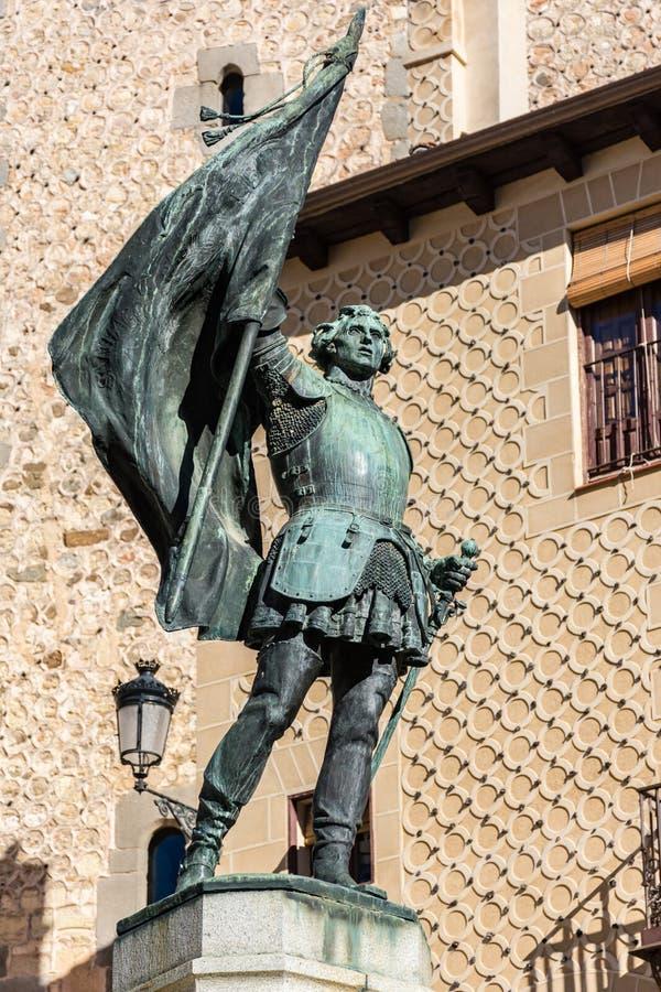 Monument aan Juan Bravo, kapitein van comunero en de vechters voor Castilla y Segovia in de 16de eeuw Segovia, Spanje stock afbeeldingen