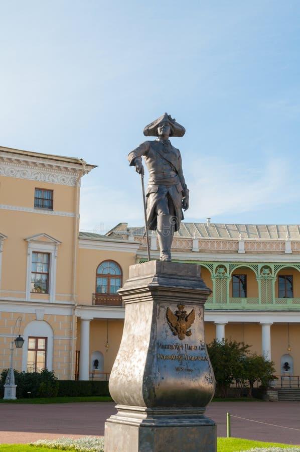 Monument aan keizer Paul I voor Pavlovsk Paleis - de zomerpaleis van keizer in Pavlovsk, St. Petersburg Rusland royalty-vrije stock afbeelding