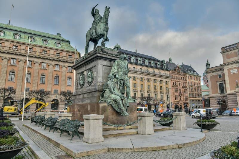 Monument aan Koning Gustaf II Adolf in Stockholm, Zweden royalty-vrije stock foto's