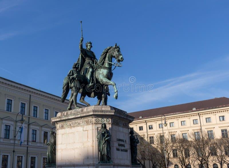 Monument aan Koning Ludwig I van Beieren in München, Duitsland stock afbeeldingen