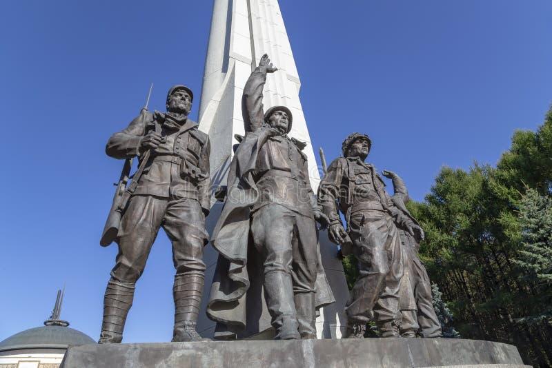 Monument aan landen van anti-Hitler coalitie, Steegaanhanger in Victory Park op Poklonnaya-heuvel, Moskou, Rusland royalty-vrije stock foto