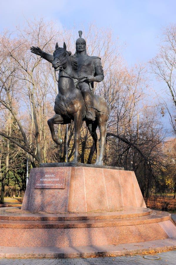 Monument aan Manas De grootmoedige held van het Kyrgyz heldendicht Moskou, Rusland, Park van Vriendschap royalty-vrije stock foto