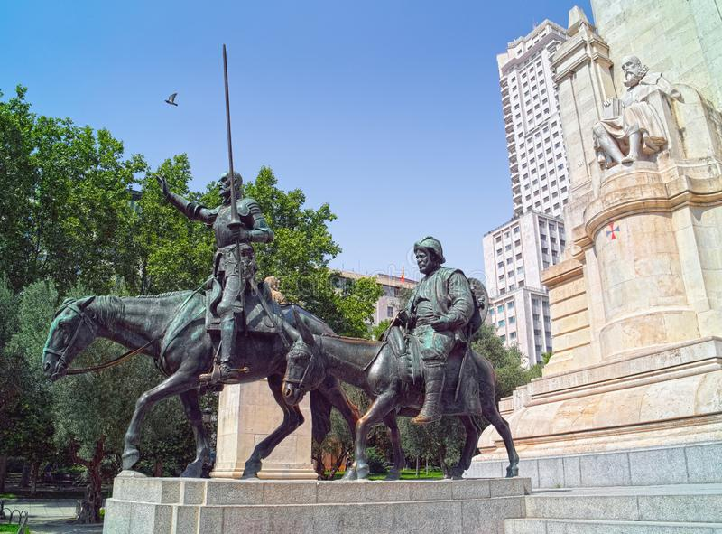 Monument aan Miguel de Cervantes in Madrid, Spanje stock afbeelding