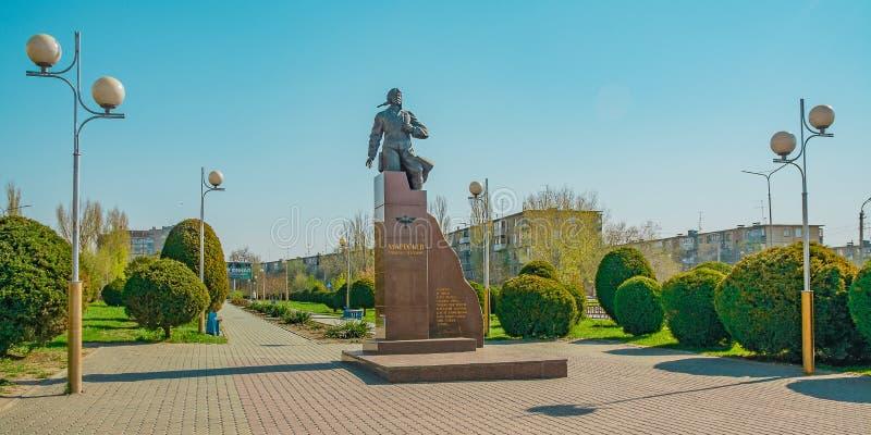 Monument aan A P Maresyev in Kamyshin royalty-vrije stock fotografie
