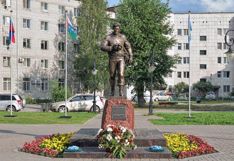 Monument aan photojournalist Alexander Efremov in Tobolsk, Rusland stock foto's