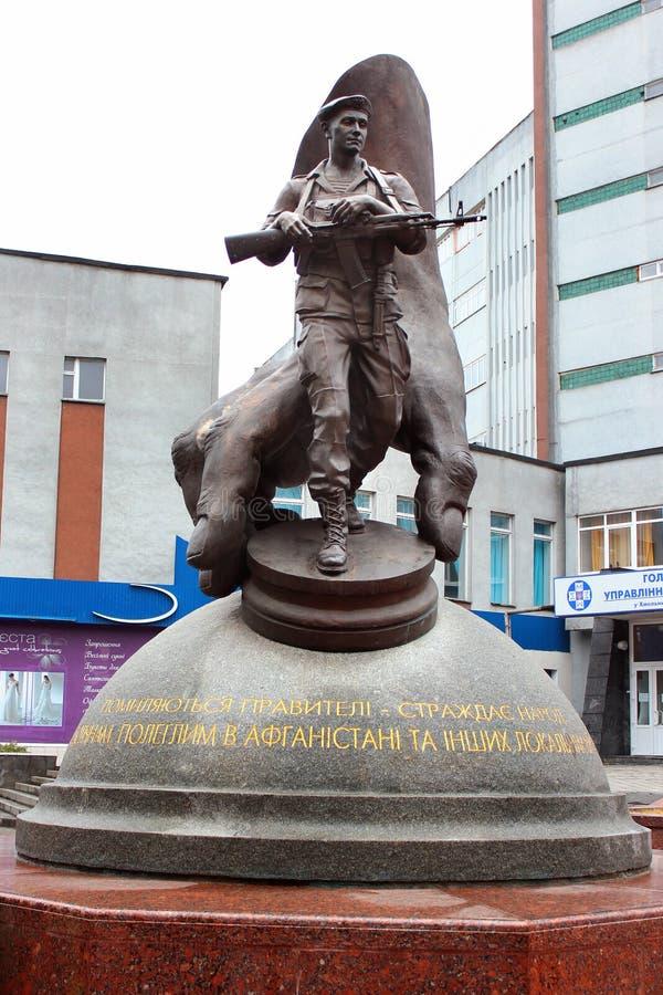 Monument aan slachtoffers van Afghaanse oorlog in Khmelnytsky, de Oekraïne stock fotografie