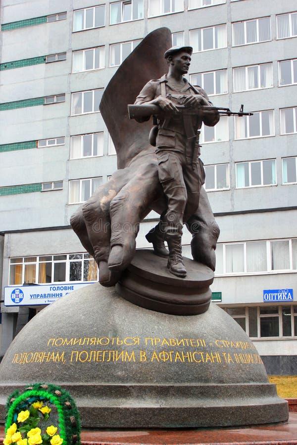 Monument aan slachtoffers van Afghaanse oorlog in Khmelnytsky, de Oekraïne royalty-vrije stock foto