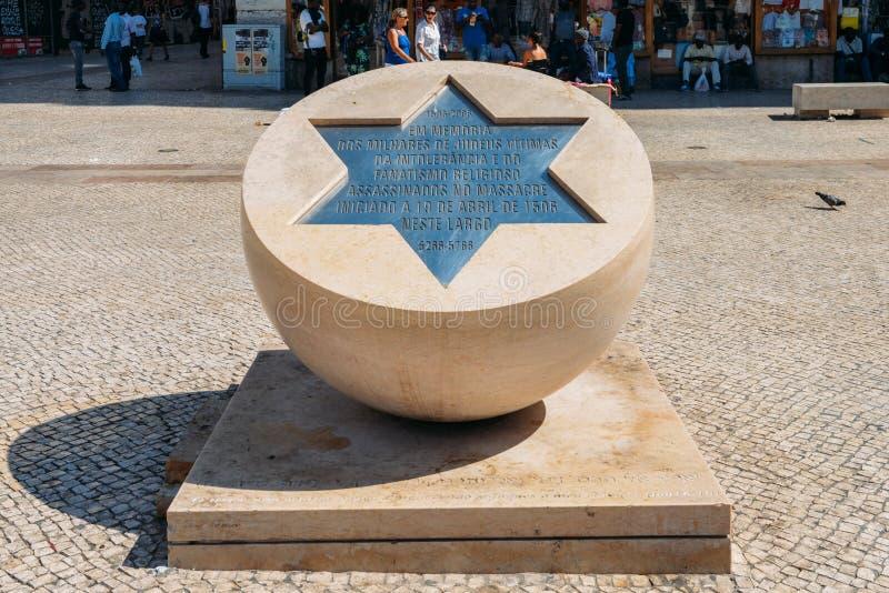 Monument aan slachtoffers van Joodse pogrom op 19 April 1506 in Lissabon, Portugal stock afbeeldingen