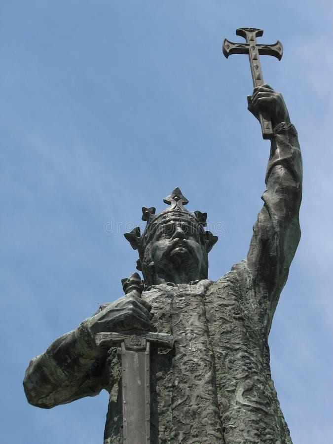Monument aan Stefanus III van Moldavië, als Stephen de Grote Merrie van Ștefan cel in ChiÈ™inău, Moldavië wordt bekend dat stock foto's
