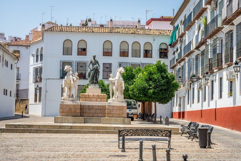 Monument aan stierenvechter Manolete in Plein Conde DE Priego, Cordo royalty-vrije stock foto