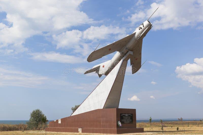 Monument aan vliegeniers in het dorp van Taman, Temryuk-district van het Krasnodar-gebied stock fotografie