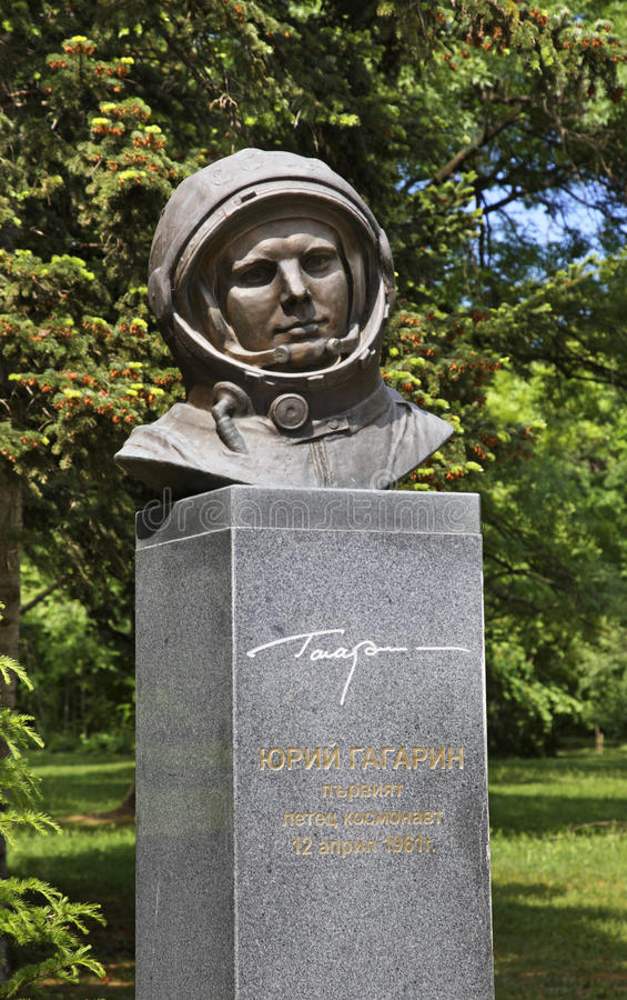 Monument aan Yuri Gagarin in Varna bulgarije stock fotografie