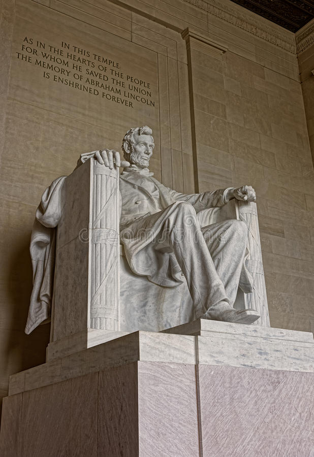 Monument of Abraham Lincoln in Washington DC United States. Figure of the president Abraham Lincoln is situated in the capital of the United States, Washington D stock images