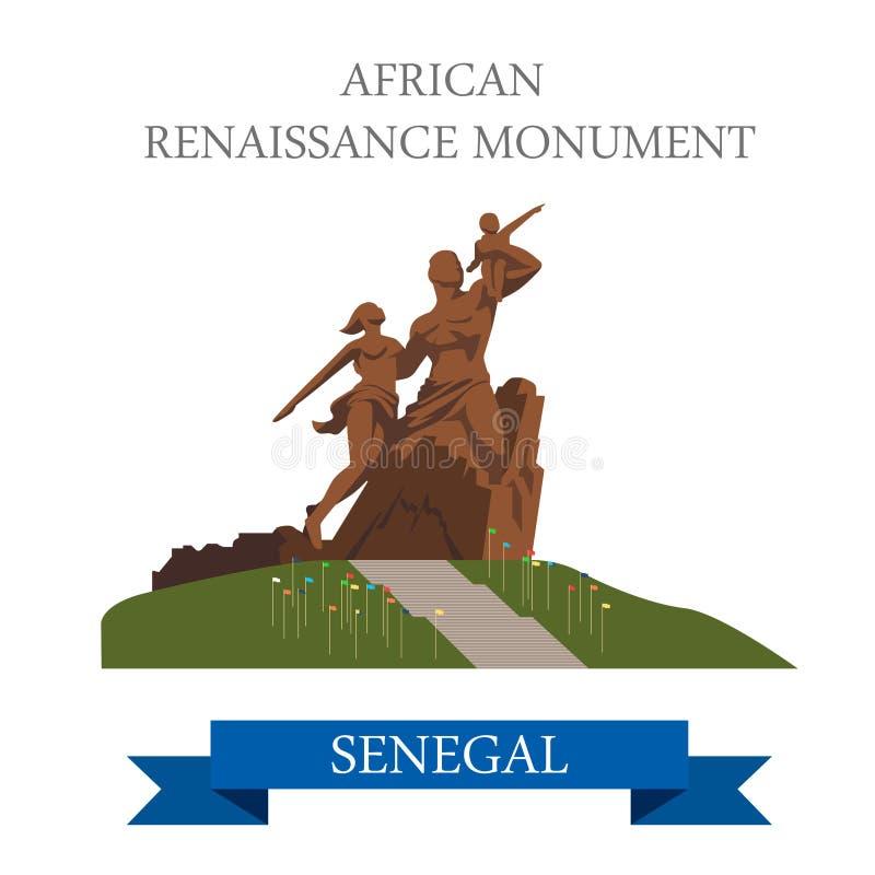 Monument africain de la Renaissance à Dakar au Sénégal i illustration libre de droits