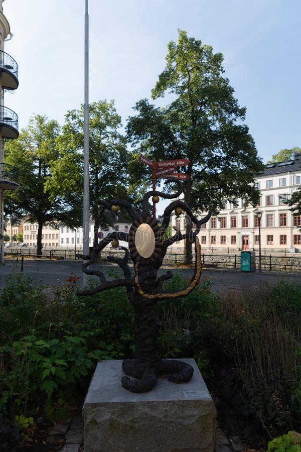 Monument Against Grand Hotell Hornan. Uppsala. Sweden. 08.2019. Monument Against Grand Hotell Hornan. Uppsala. Sweden. Summer stock photos