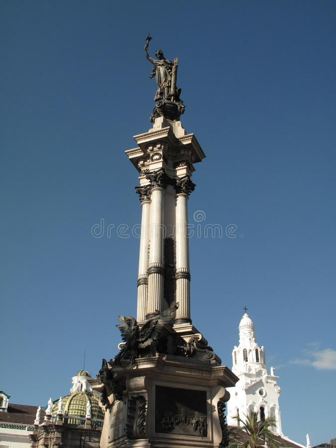 Monument 10 agost in Quito stock photography