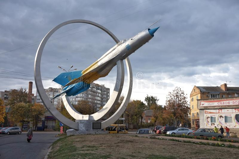 Monument `aircraft` in the center of Vinnitsa. Monument `aircraft` in the center of Vinnitsa stock image