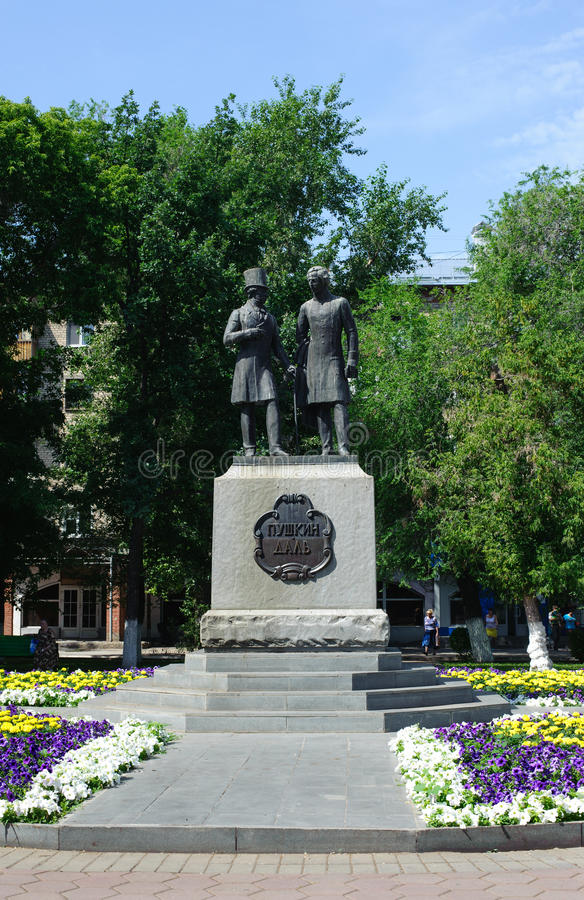 Monument of Alexandr Pushkin and Vladimir Dal in Orenburg city, royalty free stock photos
