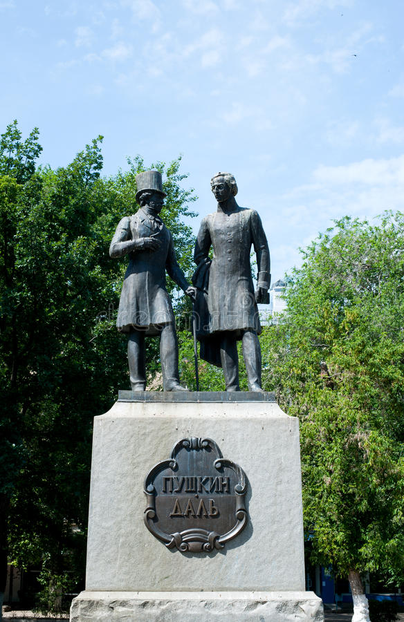 Monument of Alexandr Pushkin and Vladimir Dal in Orenburg city, stock images