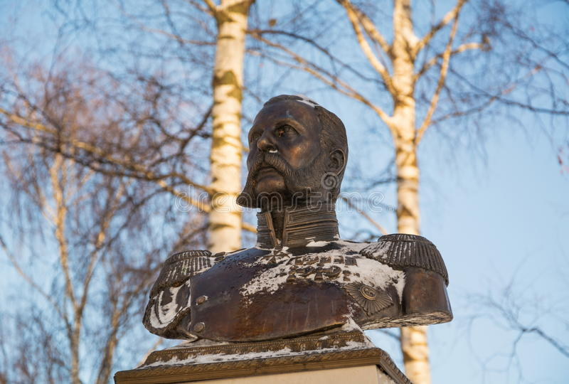 Monument All-Russian Emperor Alexander II. Was made by famous sculptor Alexander Opekushin. The monument was erected in Vyatskoe in 1911, in honor of 50th royalty free stock photography
