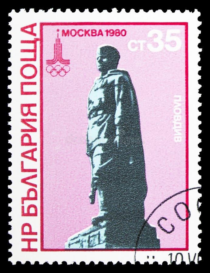 Monument Alyosha, Plowdiw, Sommer Olympics 1980, Moskau-serie, circa 1980 stockbild