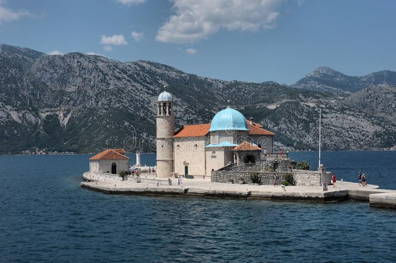 Island and Church of the Holy Mother of God in Boka Kotorska Adriatic Bay, Montenegro, Europe. Monument of ancient architecture - the island and the picturesque stock photos