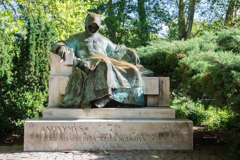 Monument of Anonymous notary and chronicler of a Hungarian King stock photography