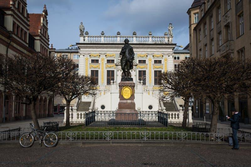 Monument-Architektur historisches Figu Leipzigs Alte Boerse Goethe lizenzfreies stockfoto