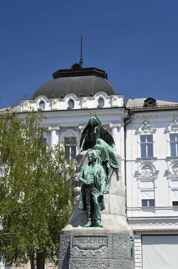 Monument au poète France Preseren, Ljubljana images libres de droits