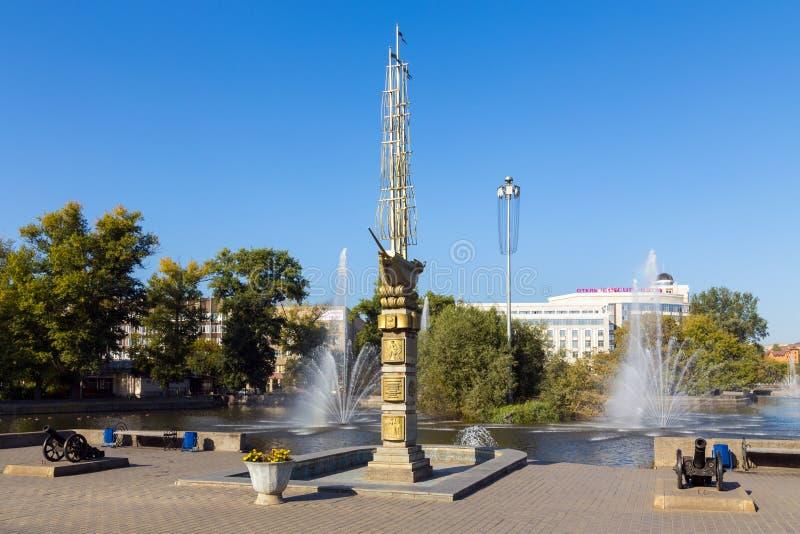 Monument au 300th anniversaire de la ville Lipetsk images libres de droits