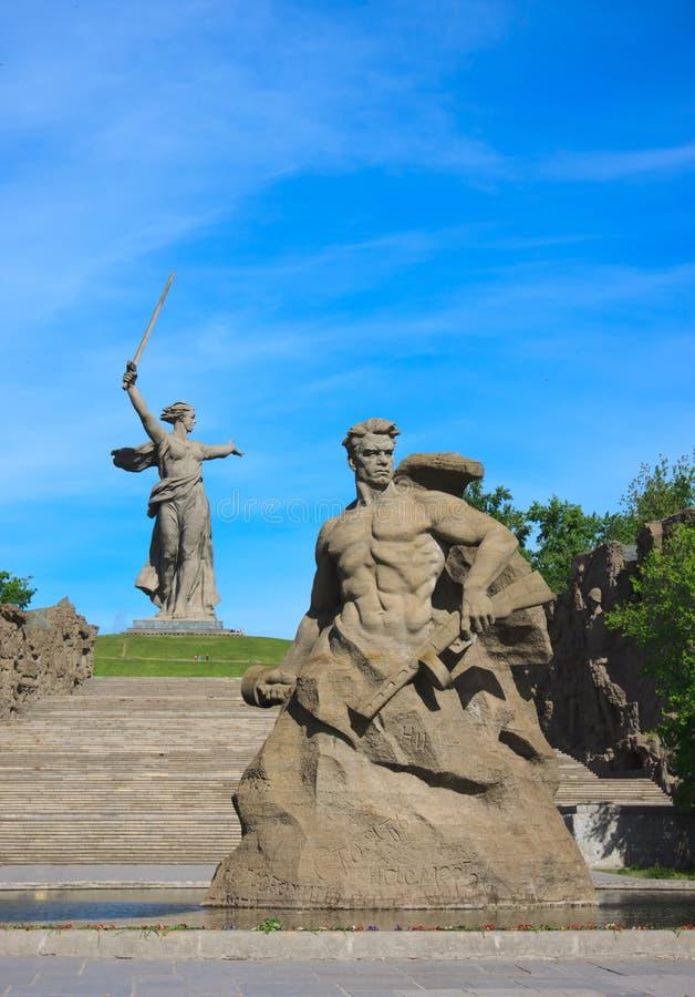 Monument-Aufenthalt zum Tod in Mamaev Kurgan, Wolgograd stockbild