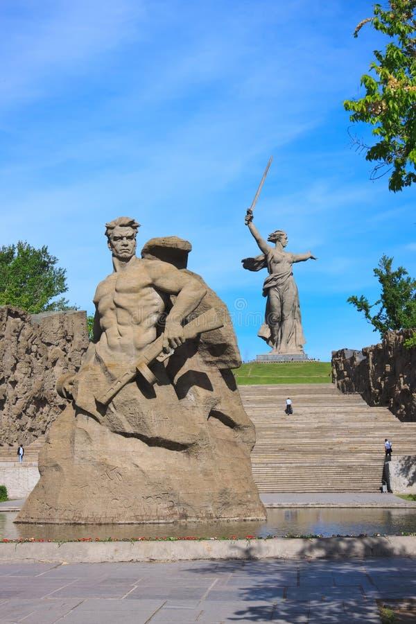 Monument-Aufenthalt zum Tod in Mamaev Kurgan, Wolgograd stockfotografie