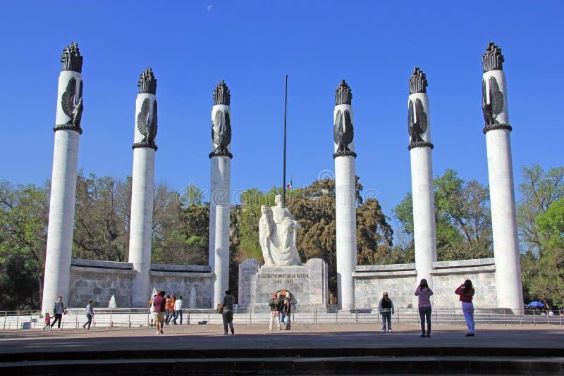 Monument aux cadets héroïques en parc de chapultepec, Mexico photo stock